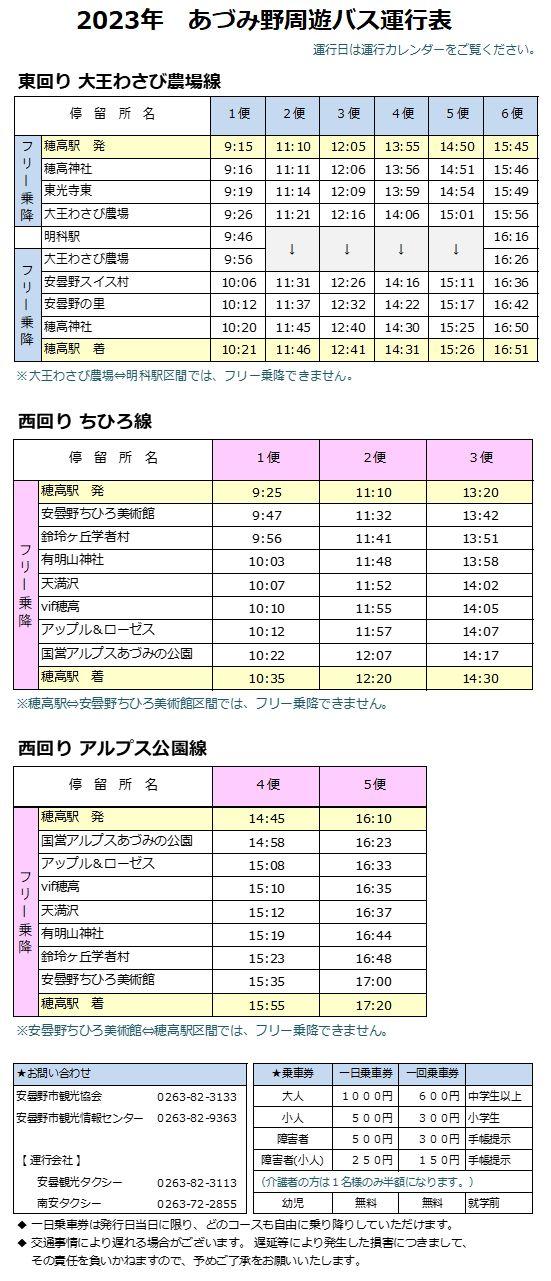 あづみ野周遊バス・運行表